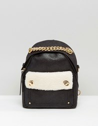 New Look Mini Faux Shearling Backpack Black