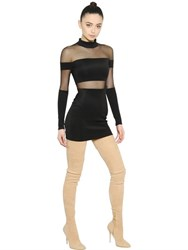 Balmain Stretch Milano Jersey And Tulle Dress