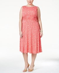 Jessica Howard Plus Size Polka Dot Fit And Flare Dress Red