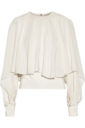 Antonio Berardi Draped Silk Crepe De Chine Top White