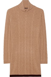 Magaschoni Cable Knit Cashmere Turtleneck Sweater Nude