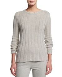 Ralph Lauren Black Label Lux Ribbed Cashmere Sweater Light Gray Melange