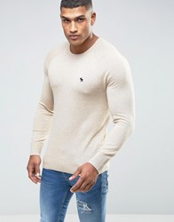 Abercrombie And Fitch Crew Jumper Retro Slub Knit In Beige Oatmeal