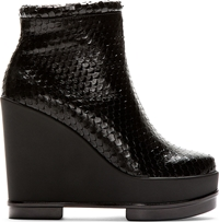 Robert Clergerie Black Snakeskin Wedge Sarlah Ankle Boots