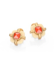 Tory Burch Audrey Stud Earrings Coral Gold
