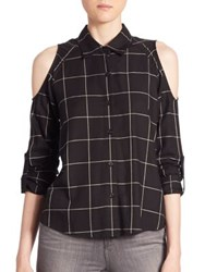 Generation Love Maisie Plaid Cold Shoulder Shirt Black White