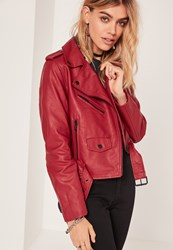 Missguided Faux Leather Biker Jacket Red