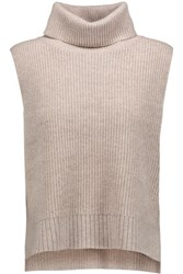 Magaschoni Ribbed Wool And Cashmere Blend Turtleneck Sweater Beige