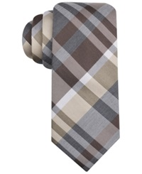 Alfani Spectrum Central Large Plaid Slim Tie Taupe