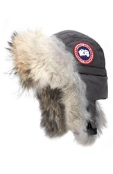 Canada Goose Women's Down Fill Aviator Hat With Genuine Coyote Fur Trim Graphite