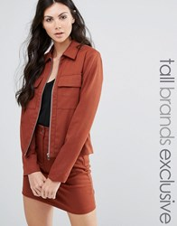 Fashion Union Tall Tailored Jacket Co Ord Brown