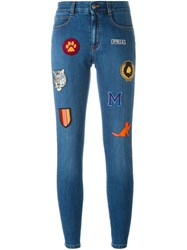 Stella Mccartney Embroidered Patch Skinny Jeans Blue