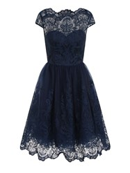 Chi Chi London Baroque Style Tea Dress Navy