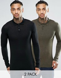 Asos Muscle Fit Knitted Polo Jumper 2 Pack Black And Khaki
