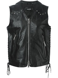 Dsquared2 Leather Studded Gilet Black