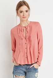 Forever 21 Pintucked Button Down Blouse Brick