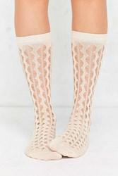 Out From Under Open Work Zig Zag Stripe Sock Neutral