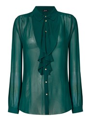 Bardot Long Sleeved Ruffle Button Blouse Dark Green