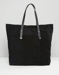 Pieces Large Suede Shoulder Bag Black