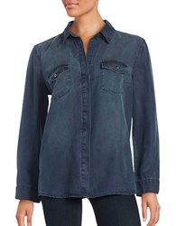 Vintage Havana Lace Up Chambray Shirt Dark Navy