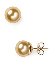 Majorica Simulated Pearl Stud Earrings 10Mm Champagne