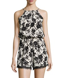 Romeo And Juliet Couture Sleeveless Floral Surplice Back Romper Cream Black