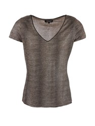 Morgan Metallic Shiny Look Snakeskin Print Top Grey