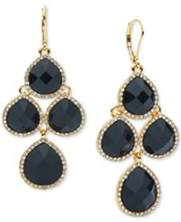 Anne Klein Gold Tone Crystal Chandelier Earrings Jet