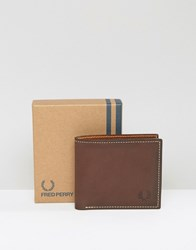 Fred Perry Leather Billfold Wallet In Brown Brown