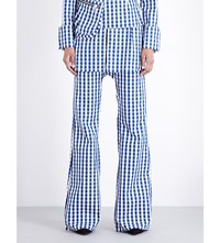 Marques Almeida Gingham Bootcut Cotton Trousers Blue Gingham