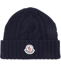 Moncler Chunky Knit Wool Beanie Navy