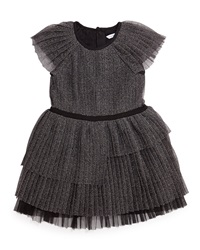 Little Marc Jacobs Pleated Metallic Tulle Party Dress Black Size 4 12