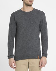 Knowledge Cotton Apparel Charcoal Lambswool Round Neck Sweater Grey