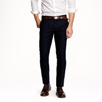 J.Crew Bowery Slim In Black Watch Wool