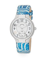 Philip Stein Teslar Round Chronograph Stainless Steel And Leather Strap Watch Blue White