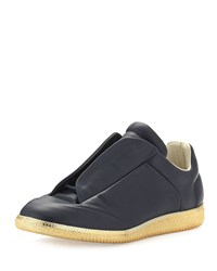 Maison Martin Margiela Maison Margiela Future Leather Low Top Sneaker With Golden Sole Size 40Eu 7Us Navy Gold