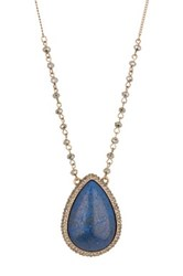 Natasha Accessories Beaded Rhinestone Set Teardrop Pendant Necklace Blue
