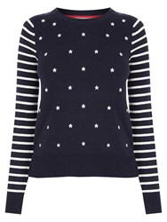 Oasis Embroidered Star Knit Multi Blue