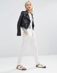 Asos Textured Casual Peg Pants With Draw Cord White