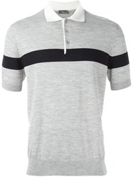 Christian Dior Homme Contrast Stripe Polo Shirt Grey