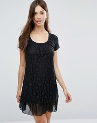 Jasmine Spot Overlay Dress Black