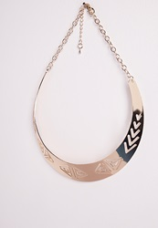 Missguided Aztec Cut Out Collar Necklace Gold