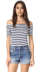 Feel The Piece Off Shoulder Top Navy White