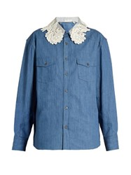 Miu Miu Lace Collar Denim Shirt