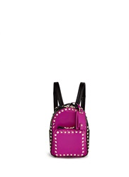 Valentino 'Rockstud' Mini Colourblock Leather Backpack Pink