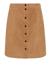 Hallhuber A Line Suede Skirt Brown