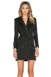 The Kooples Coat Shaped Dress With Leather Collar And Piping Black