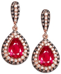 Effy Collection Red Velvet By Effy Ruby 1 3 4 Ct. T.W. Brown 1 8 Ct. T.W. And White Diamond 3 8 Ct. T.W. Earrings In 14K Rose Gold