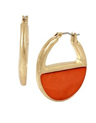Kenneth Cole Coral Canyon Shell Hoop Earrings Red