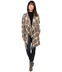 Ivanka Trump Plaid Open Fringe Sweater Knit Cardigan Malbec Black Women's Sweater Brown